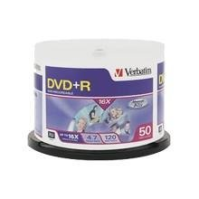 Verbatim DVD+R 4.7GB 16X Branded 50pk Spindle - Silver