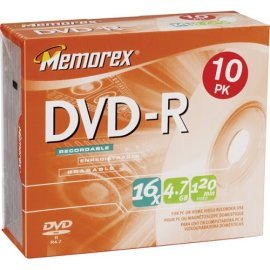 Memorex 10PK DVD-R 4.7 GB SLIM ( 32025669 )