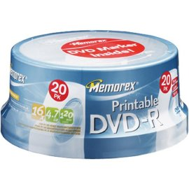 Memorex DVD-R 16x 4.7GB 20 Pack Spindle Printable