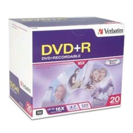 Verbatim 20PK DVD+R 4.7GB 16X-BRANDED W/ SLIM JC ( 95038 )