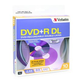 Verbatim DVD+R DL 8.5GB/240Min 2.4X 10Pk Spindle Box - SILVER