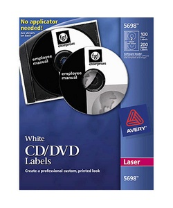 AVERY WHITE CD/DVD LABELS ( 5697 )