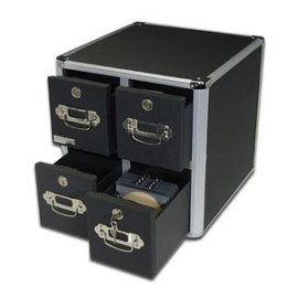 Vaultz 4-Drawer CD Cabinet, 15 1/2in.H x 14 1/2in.W x 15 1/2in.D, Black