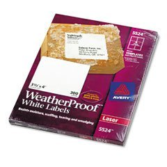 Avery(R) Weatherproof Laser Labels, Shipping, 3 1/3in. x 4in., White, Box Of 300