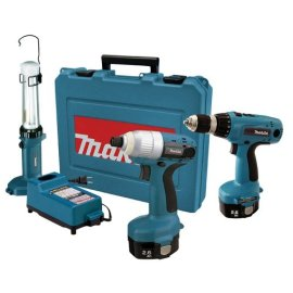 Makita 6935FDWDEX, 14.4 Volt Cordless Impact Driver Kit with 6337 MForce Drill and Fluorescent Work Light(ML143)
