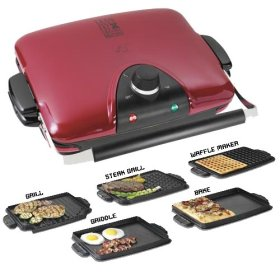 George Foreman GRP90WGR Next Grilleration Removable-Plate Grill with 5 Plates, Red