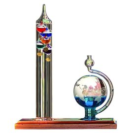 Chaney Instrument Galileo Thermometer w/ Glass Ball Barometer - glass/wood