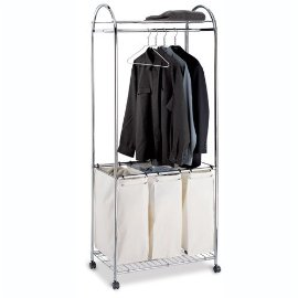 Laundry Cart - Triple Sorter - (Natural/Chrome)