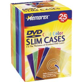 Cool Color Slim DVD Storage Cases