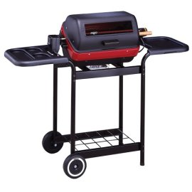Meco 9359W Deluxe Electric Cart Grill with Rotisserie, Satin Black