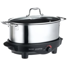 West Bend 84866 6-Quart Versatility Slow Cooker with glass cover, stainless steel - Black and stainless