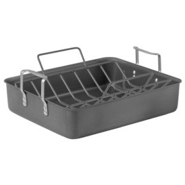 Calphalon Classic Hard Anodized 16-Inch Roaster with Nonstick Rack - charcoal gray