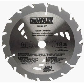 DEWALT DW3161 Series 20 6-1/2 18T Carbide Thin Kerf Circular Saw Blade