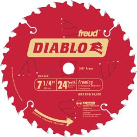 Freud D0724X  Diablo 7-1/4, 24-Tooth Framing Saw Blade