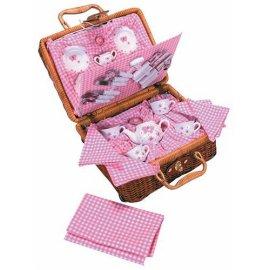 Butterfly 30-piece Tea Set in Wicker Basket