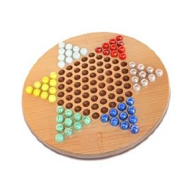 Chinese Checkers - Wood Board with Marbles & Bag