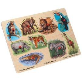 Wooden Zoo 9-piece Peg Puzzle