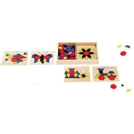 130-piece Wooden Pattern Blocks and Boards