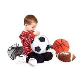 Set of 4 Deluxe Plush Sports Throw Pillows; includes Soccer ball, Softball, Football and Basketball