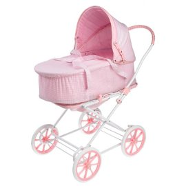 3-in-1 Doll Pram, Carrier, and Stroller - Pink Gingham