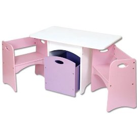 Table With Pastel Benches