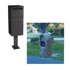 Post/Column Mount Locking Mail & Package Delivery Vault- Black