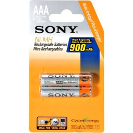 Sony Rechargeable Ni-MH AAA Batteries - 2 Pack