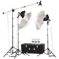 Smith Victor KT900 3-Light 1250-Watt Thrifty Mini-Boom Kit with Light Cart on Wheels Carrying Case.