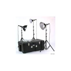 Smith Victor K6RC 3 Light, 1250 watt Home Portrait Lighting Kit with Light Cart on Wheels Carrying Case.