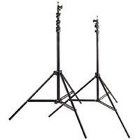 Westcott Pro 9' Heavy Weight Lightstand with 5/8 Mounting Stud, 4 Sections with 3 Risers, Black Anodized.