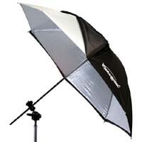 Photogenic 45 Umbrella Silver, With Removable Black Backing Cover, Has Exposed Ribs