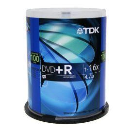 TDK Electronics DVD+R47FCB100 Single-Sided 16x DVD+R Spindle, 100 Discs