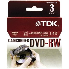 TDK 3 pack of 8 cm DVD-RW for camcorder