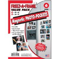 Howard Packaging - Freez-a-Frame Value Pack: (4) 4x6 and (2) 5x7 Photo Holders with Magnetic Back