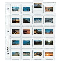 Print File Archival 35mm Slide Pages Holds Twenty 2 x 2 Mounted Transparencies, Top Loading, Pack of 25