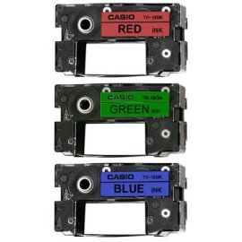 Casio TR-18BRG-3P Assorted Ribbons for CD Title Writers (3-Pack of Red, Green, Blue) - black body