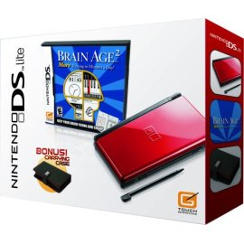 Nintendo DS Lite Crimson & Black with Brain Age 2