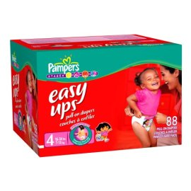 Pampers Easy Ups Pull-On Diapers for Girls, Size 4, Value Pack, 88 Easy Ups