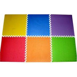 New 24 Sq. Ft. 'We Sell Mats' Anti-Fatige Interlocking EVA Foam Flooring-Set of six Multi-Color Tiles-Each 2'x2'x3/8 Thick with Borders