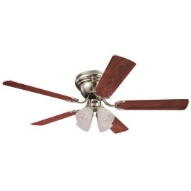 Westinghouse Contempra IV Four-Light 52-Inch Five-Blade Ceiling Fan, Brushed Nickel with Frosted Ribbed Globes #78616