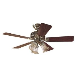 Hunter The Beacon Hill Three-Light 42-Inch Five-Blade Ceiling Fan, Bright Brass with Clear Globes #20434