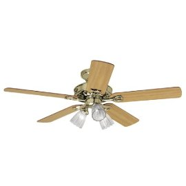 Hunter Sontera Three-Light 52-Inch Five-Blade Ceiling Fan, Bright Brass with Clear Globes #22436
