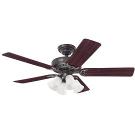 Hunter The Studio Series 52-Inch Five Cherry/Walnut-Blades-Ceiling Fan, New Bronze#25587