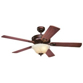 Westinghouse Bethany One-Light 52-Inch Five-Blade Ceiling Fan, Rustic Bronze with Crème Agate Globe #78799
