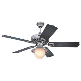 Westinghouse LaFayette One-Light 52-Inch Five-Blade Ceiling Fan, Antique Pewter with Yellow Alabaster Globes #78779