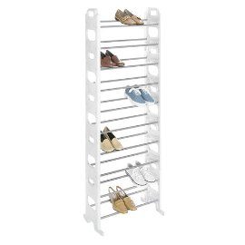 Whitmor 30-Pair Shoe Rack - White