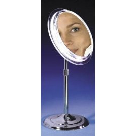 Zadro Satin Nickel Pedestal Vanity Mirror with 7x Magnification