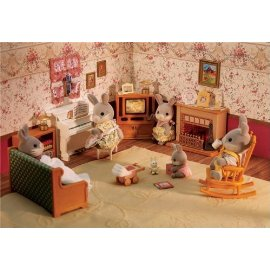 Dollhouse Living Room Accessories Set with Fireplace/ Piano/ TV