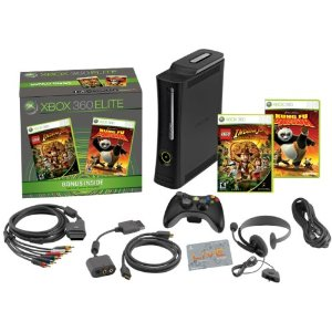 Xbox 360 Elite Bundle (includes 120GB Hard Drive, Kung-Fu Panda, LEGO Indiana Jones)