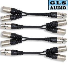4 XLR F to Dual XLR M Y Cable Splitter GLS Audio